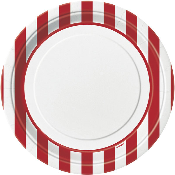 Click for larger picture of RED STRIPE DINNER PLATES (96/CS) PARTY SUPPLIES  sc 1 st  Partypro.com & bulk red stripe party supplies - red stripe dinner plates 96cs