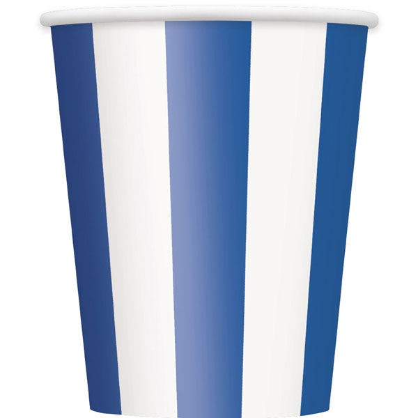 Click for larger picture of ROYAL BLUE STRIPE CUPS PARTY SUPPLIES
