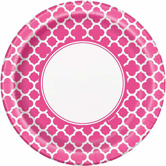 DISCONTINUED HOT PINK QUATREFOIL 9IN PLT PARTY SUPPLIES