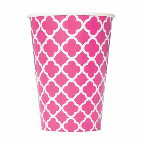 DISCONTINUED HOT PINK QUATREFOIL 12OZCUP PARTY SUPPLIES