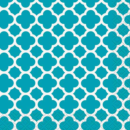TEAL QUATREFOIL BEVERAGE NAPKIN PARTY SUPPLIES