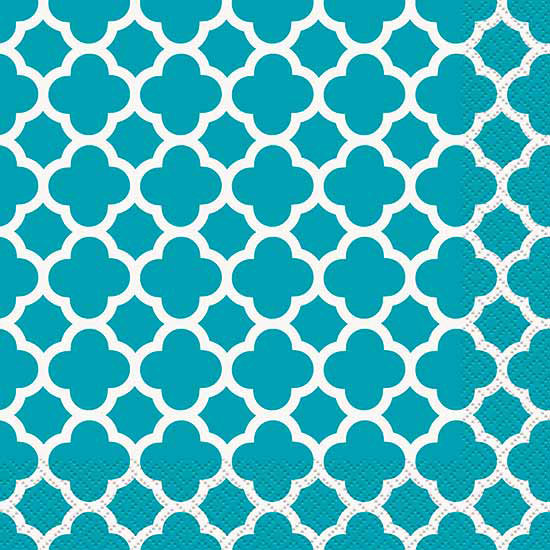 TEAL QUATREFOIL LUNCH NAPKIN PARTY SUPPLIES