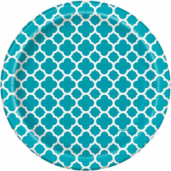TEAL QUATREFOIL DESSERT PLATE PARTY SUPPLIES