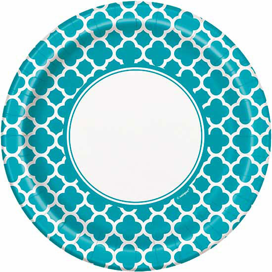 TEAL QUATREFOIL DINNER PLATE PARTY SUPPLIES