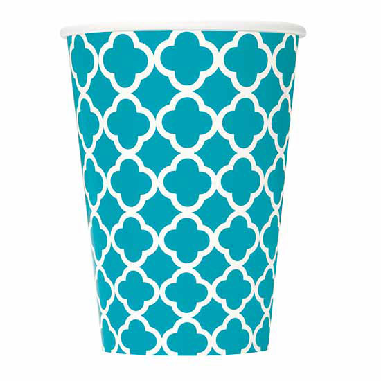 DISCONTINUED TEAL QUATREFOIL 12 OZ CUP PARTY SUPPLIES