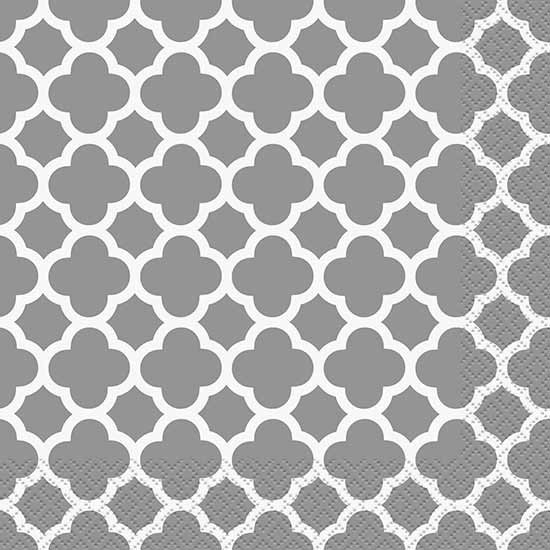 DISCONTINUED SILVER QUATREFOIL LUNCH NAP PARTY SUPPLIES