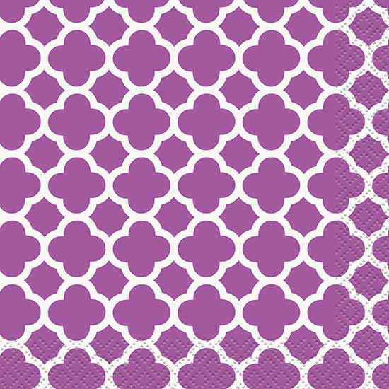 DISCONTINUED PURPLE QUATREFOIL BEV NAPKN PARTY SUPPLIES