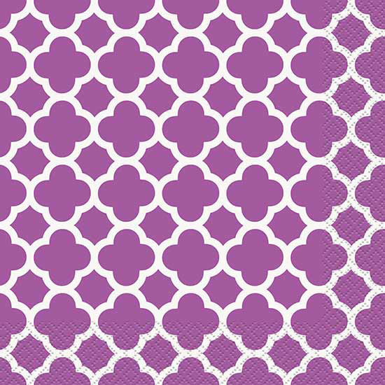 DISCONTINUED PURPLE QUATREFOIL LUNCH NAP PARTY SUPPLIES