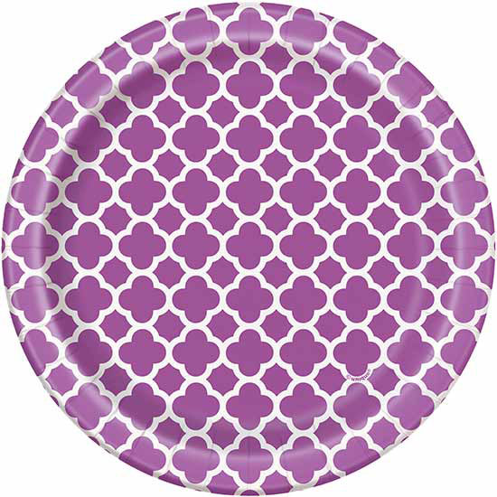 PURPLE QUATREFOIL DESSERT PLATE PARTY SUPPLIES