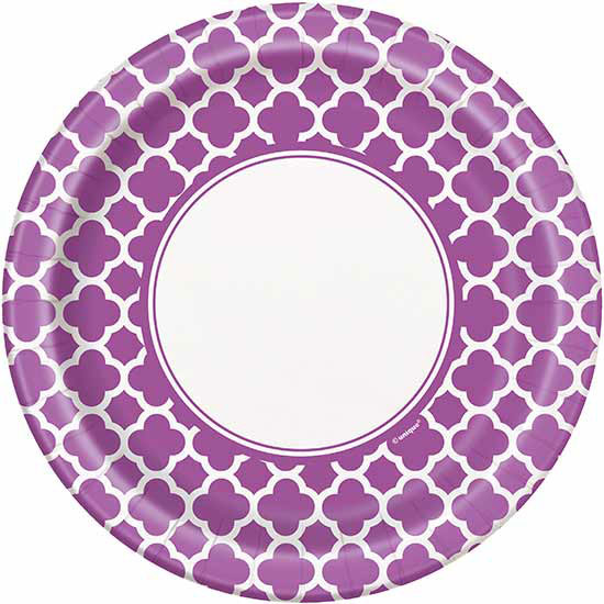 DISCONTINUED PURPLE QUATREFOIL DINNR PLT PARTY SUPPLIES
