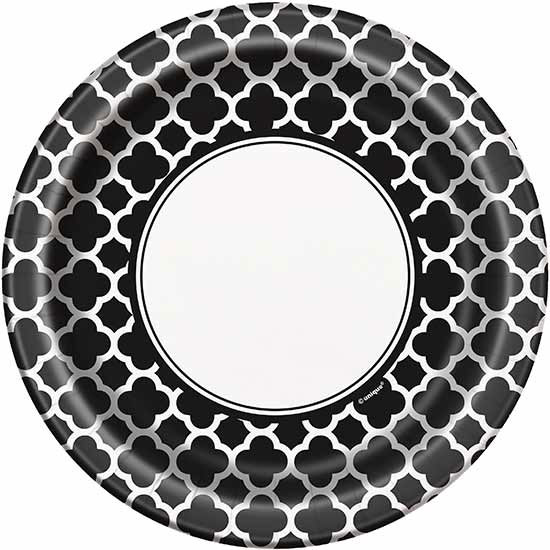 BLACK QUATREFOIL  sc 1 st  Party Supplies & Colored Tablecovers | Colored Paper Party Plates | Solid Color Napkins