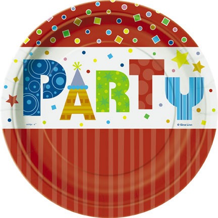 Click for larger picture of DISCONTINUED PARTY STYLE DESSERT PLATE PARTY SUPPLIES