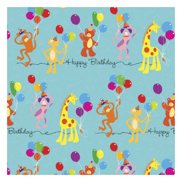 Click for larger picture of DISCONTINUED ANIMAL BDAY GIFTWRAP 30