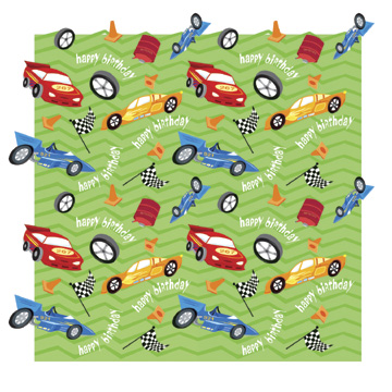 Click for larger picture of BIRTHDAY RACE CARS VALUE GIFTWRAP(12/CS) PARTY SUPPLIES