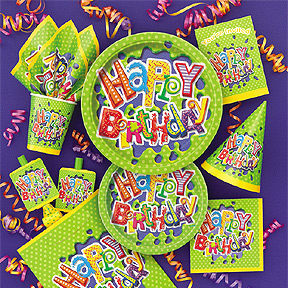 Click for larger picture of DISCONTINUED BIRTHDAY SPLASH GIFT WRAP PARTY SUPPLIES