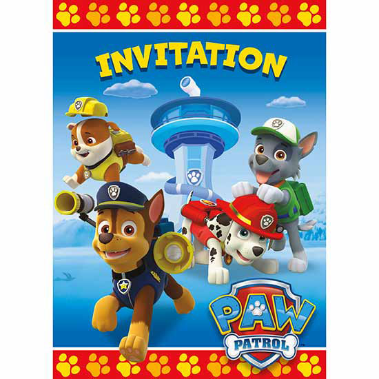 PAW PATROL INVITATION PARTY SUPPLIES