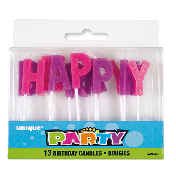 Click For Larger Picture Of HAPPY BIRTHDAY LETTER CANDLES 156 CS PARTY SUPPLIES