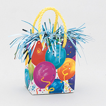 Click for larger picture of FESTIVE BALLN MINI GIFT BAG WT (6/CS) PARTY SUPPLIES