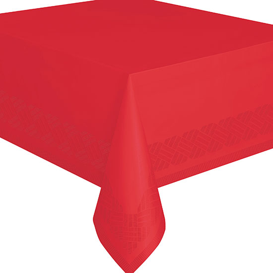 RED 54X108 IN PAPER TABLECOVER (12/CS) PARTY SUPPLIES