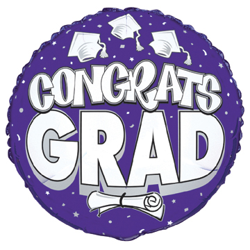 Click for larger picture of DISCONTINUED CONGRATS GRAD BALLOON PURPL PARTY SUPPLIES