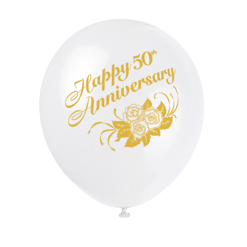 Click for larger picture of 50TH ANNIVERSARY WHITE BALLOONS (36/CS) PARTY SUPPLIES