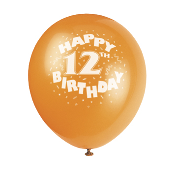 DISCONTINUED 12TH BIRTHDAY ASST BALLOON PARTY SUPPLIES