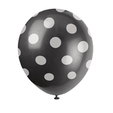 Click for larger picture of BLACK DOTS LATEX BALLOONS (72/CS) PARTY SUPPLIES