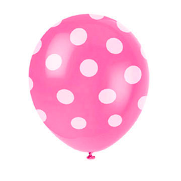 Click for larger picture of HOT PINK DOTS LATEX BALLOONS (72/CS) PARTY SUPPLIES