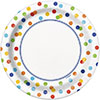 RAINBOW POLKA DOT DESSERT PLATE PARTY SUPPLIES