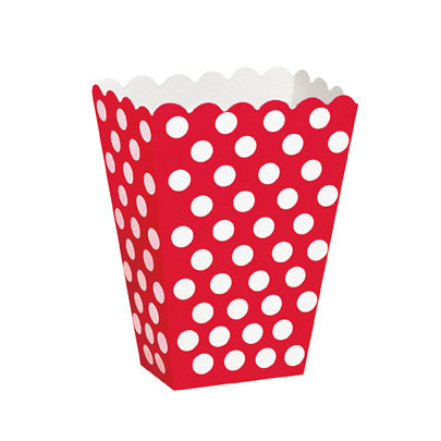 Click for larger picture of RUBY RED DOTS TREAT BOXES PARTY SUPPLIES