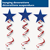 PATRIOTIC HANGING SWIRL (36/CS) PARTY SUPPLIES