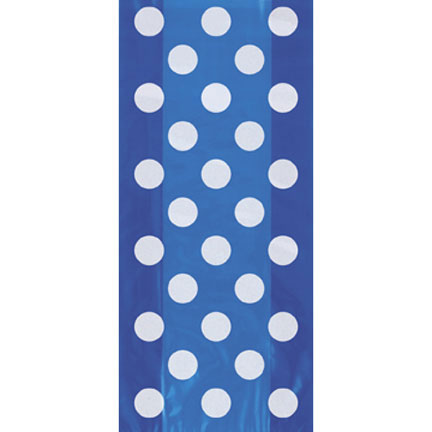 Click for larger picture of ROYAL BLUE DOTS CELLO BAGS PARTY SUPPLIES