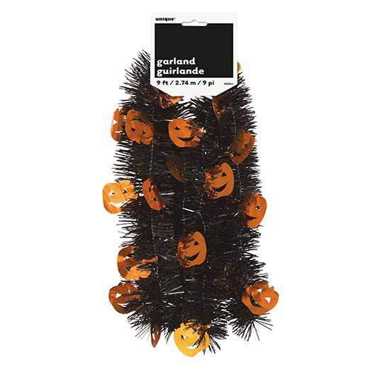 ORANGE TINSEL GARLAND (12/CS) PARTY SUPPLIES