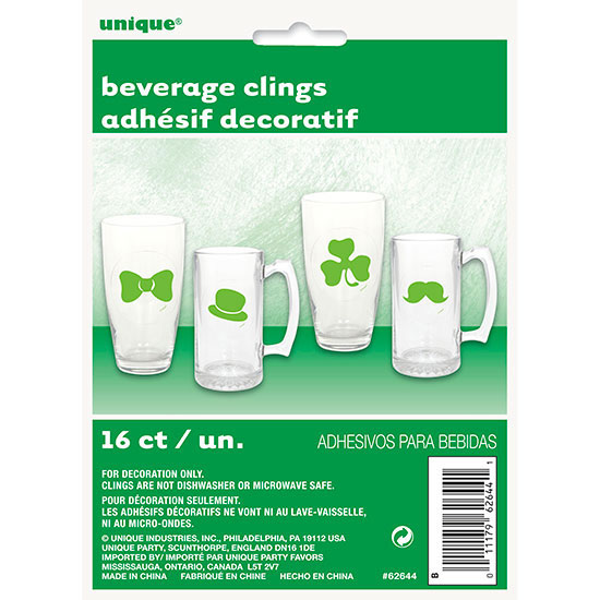 DISCONTINUED ST. PATS DAY BEVERAGE CLING PARTY SUPPLIES