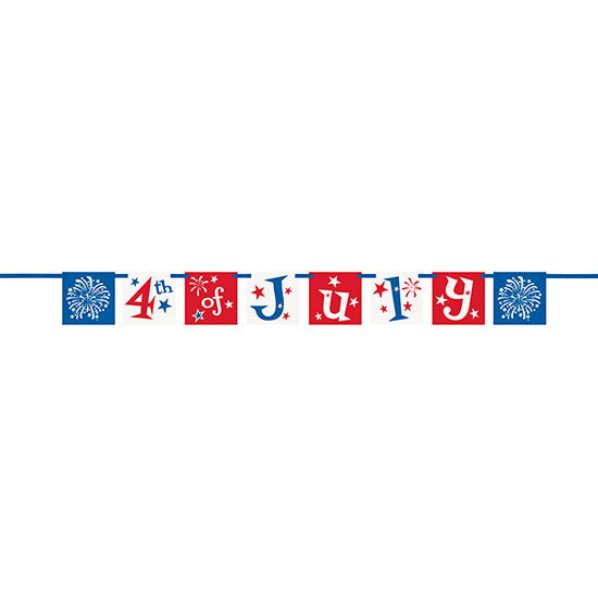 4TH OF JULY BLOCK BANNER (12/CS) PARTY SUPPLIES