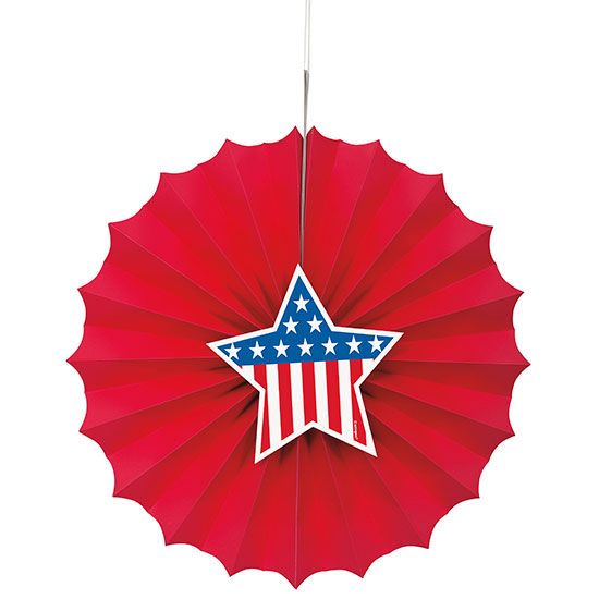 STARS STRIPES TISSUE FAN 12 IN. (12/CS) PARTY SUPPLIES
