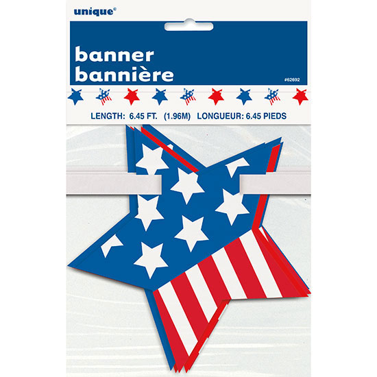 STARS STRIPES CUTOUT BANNER (12/CS) PARTY SUPPLIES