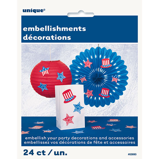 PATRIOTIC EMBELLISHMENT (288/CS) PARTY SUPPLIES