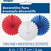 RED-WHITE-BLUE TISSUE FAN (36/CS) PARTY SUPPLIES
