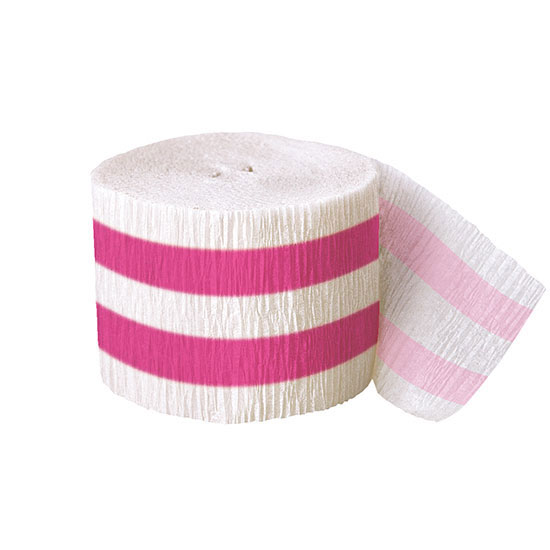 DISCONTINUED HOT PINK STRIPE CREPE STRMR PARTY SUPPLIES