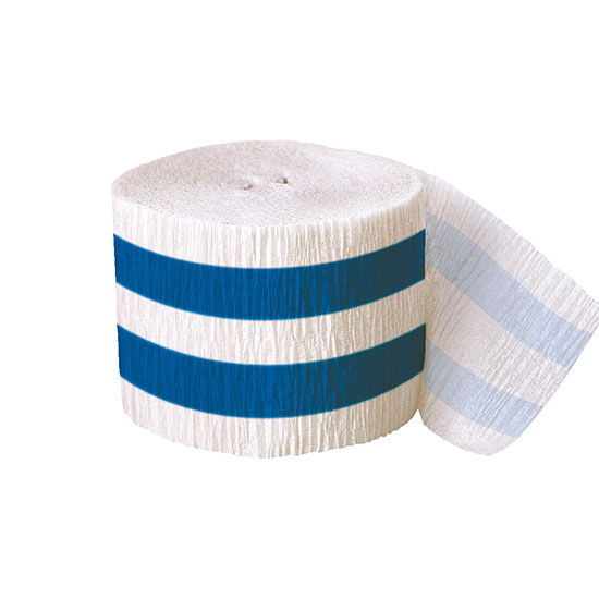 DISCONTINUED ROYAL BLUE STRIPE CREPE PARTY SUPPLIES
