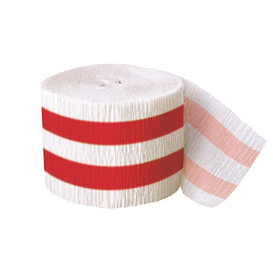 DISCONTINUED RED STRIPE CREPE STMR 30 FT PARTY SUPPLIES