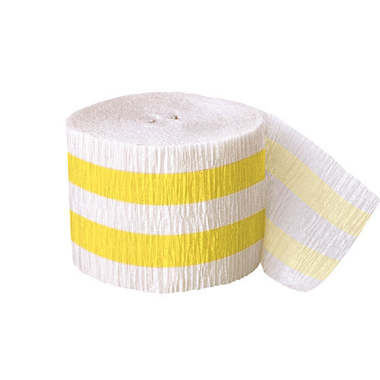Click for larger picture of DISCONTINUED SUN YELLOW STRIPE CREPE PARTY SUPPLIES