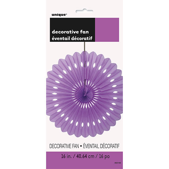 PRETTY PURPLE 16 IN. TISSUE FAN (12/CS) PARTY SUPPLIES