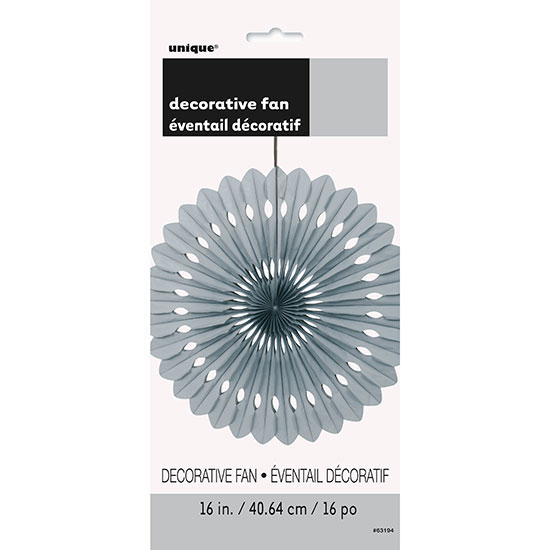 SILVER 16 IN. TISSUE FAN (12/CS) PARTY SUPPLIES