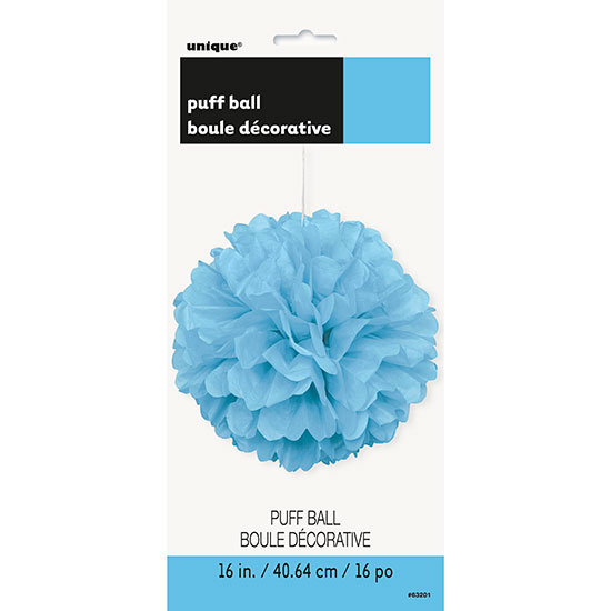 POWDER BLUE 16 IN. TISSUE PUFF BALL (12/ PARTY SUPPLIES