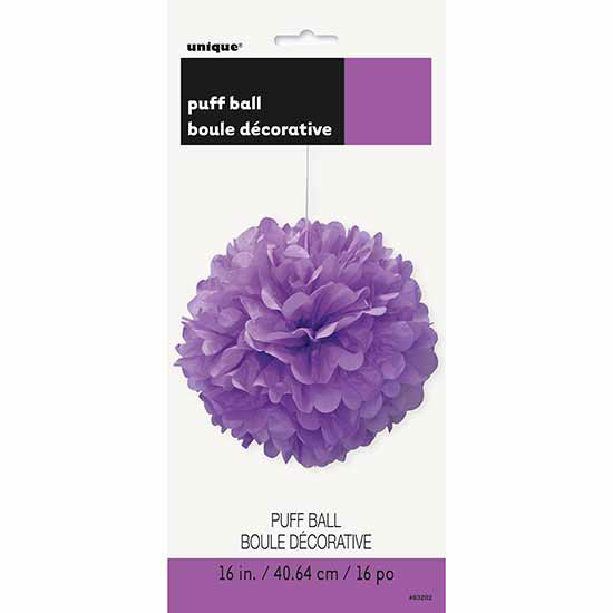 PRETTY PURPLE 16 IN. PUFF BALL (12/CS) PARTY SUPPLIES