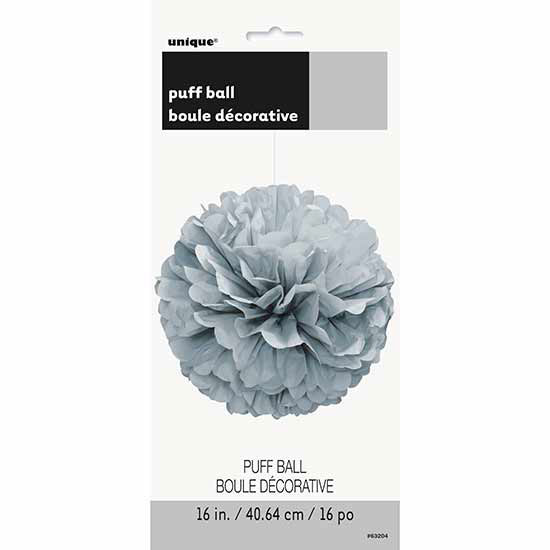 SILVER 16 IN. TISSUE PUFF BALL (12/CS) PARTY SUPPLIES