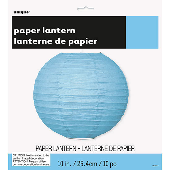 POWDER BLUE 10 IN. LANTERN (12/CS) PARTY SUPPLIES