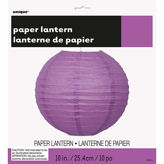 PRETTY PURPLE 10 IN. LANTERN (12/CS) PARTY SUPPLIES